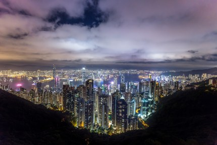 landscape view of an asian city with lots of skyscrapers and lights