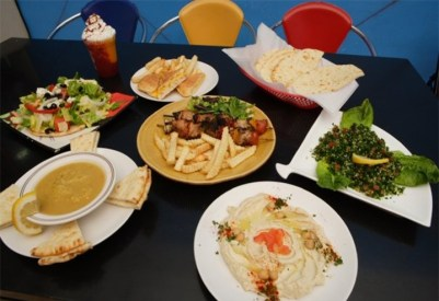 a table of food such as hummus