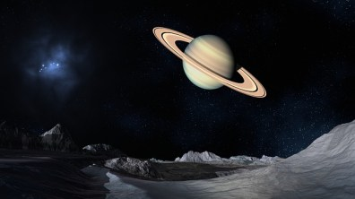 the planet saturn and stars in the background