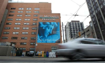 a photograph of the outside of the st.michael's hospital building in Toronto
