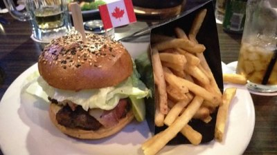 Canadian burger with fries