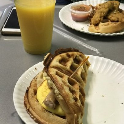 waffle egg and sausage