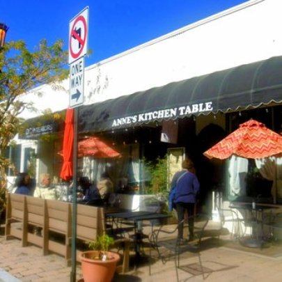 the front of the outside seating