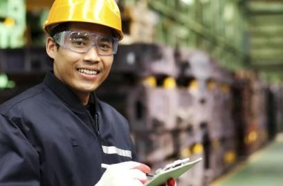 A quality engineering student enjoying his job.