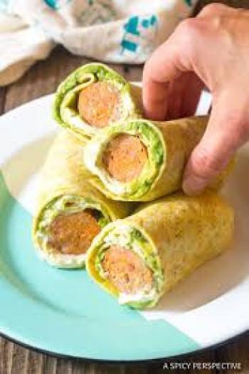 breakfast egg wraps in plate