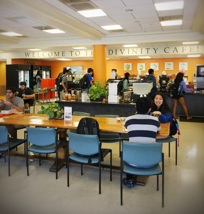 Divinity Cafe is located directly on Duke University's campus.