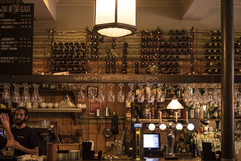 a look at the bar with wines