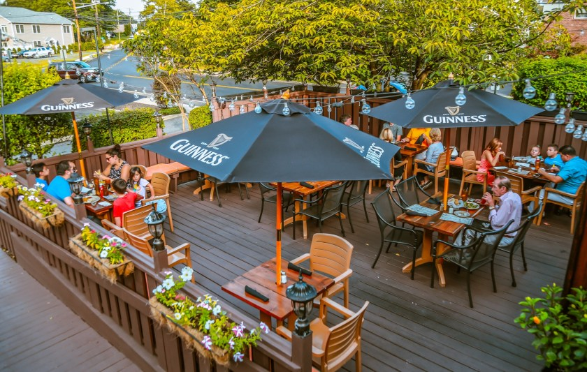 The outdoor patio at the Suspenders Restaurant and Bar