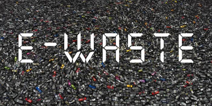 image of thousands of phones as electronic waste (e-waste) to be recycled.