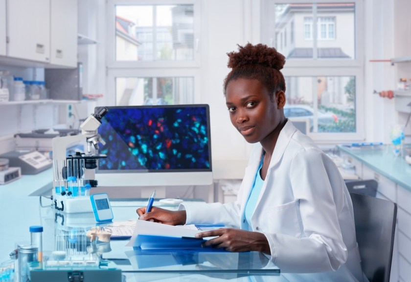 A laboratory assistant in modern biological laboratory