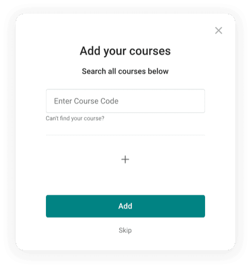 Step three of the OneClass free trial sign up process. Users have to add their courses here.