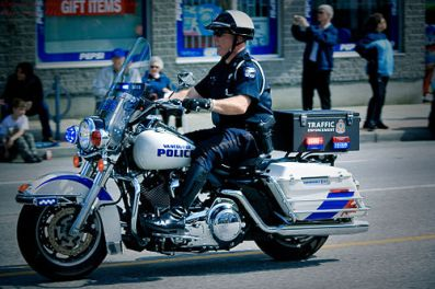 Policeman riding his bike
