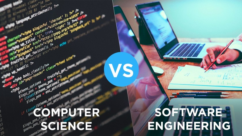This picture shows the difference between computer science and software engineering.
