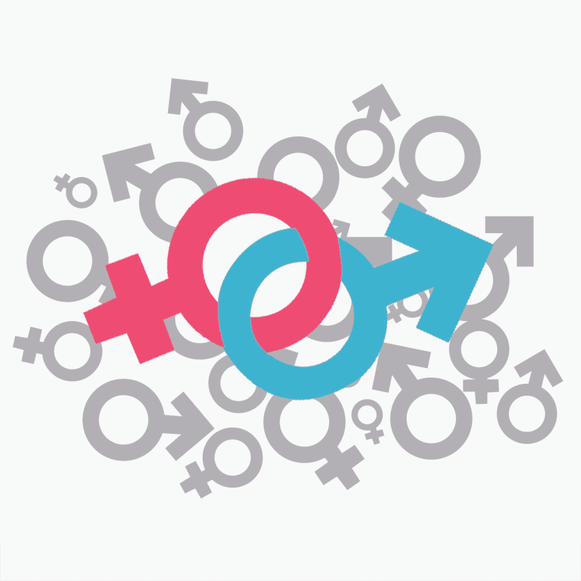 A cartoon of the two gender symbols