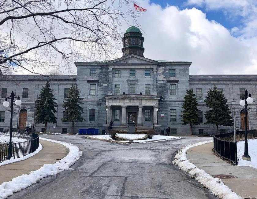 McGill University building in the winter time
