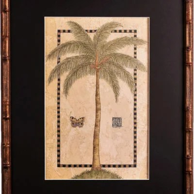 Tropical Palm in Golden Bamboo with Black Matting
