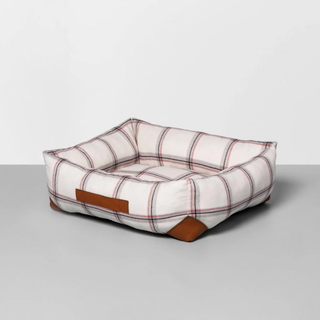 Holiday inspired plaid dog bed
