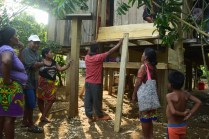 Villagers of Valle Alegre assess our progress.
