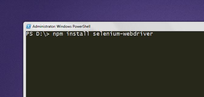 terminal install selenium javascript npm