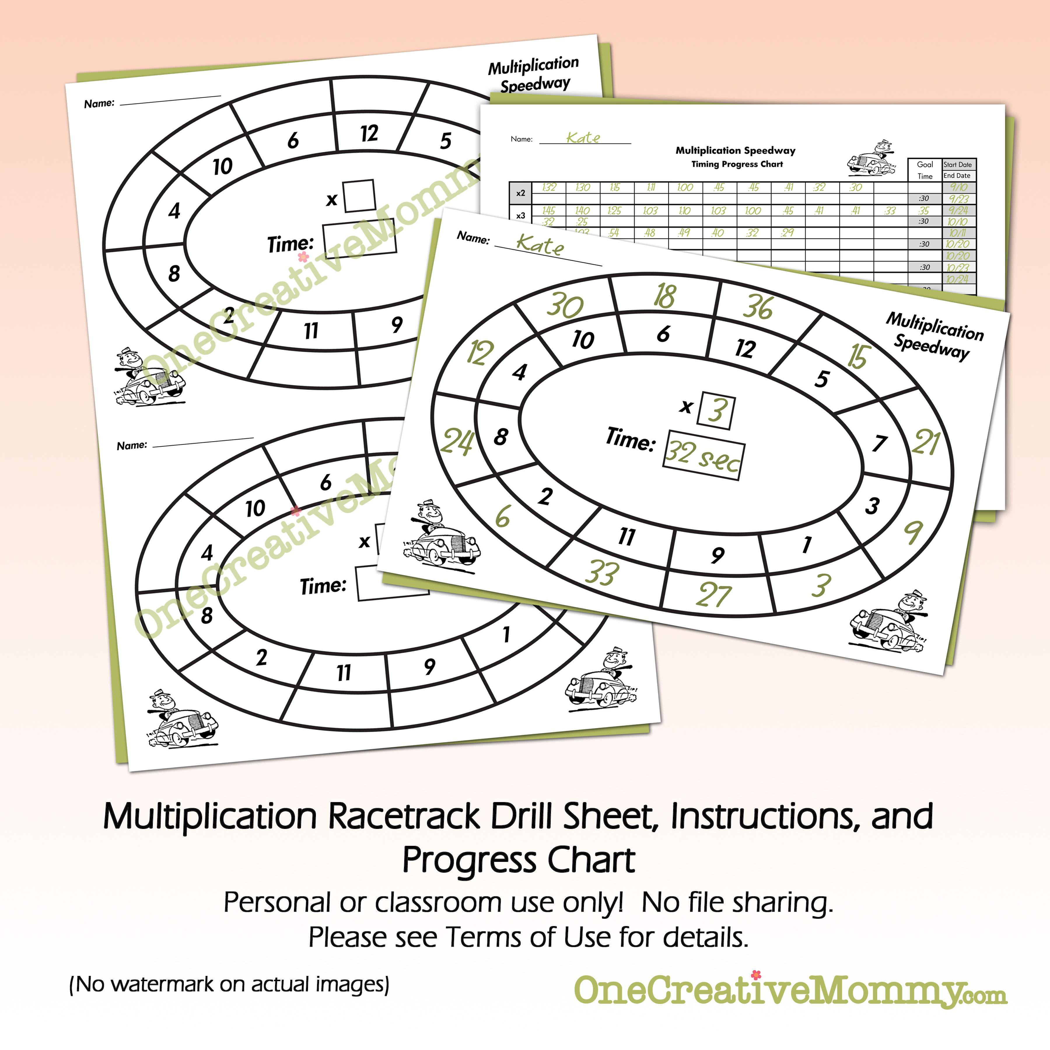 Multiplication Speedway Math Drill