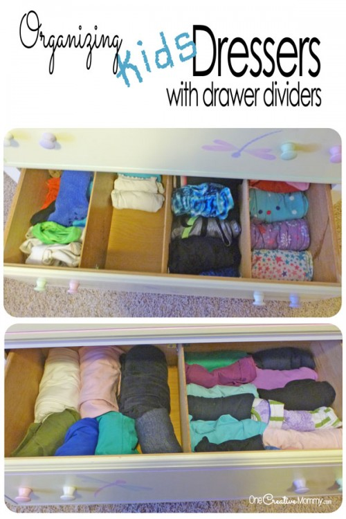 Organizing Kids Drawers with Dividers  onecreativemommycom