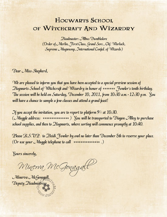 harry potter party invitations by owl
