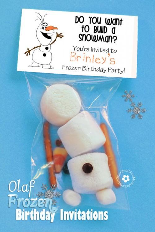 olaf frozen invitations