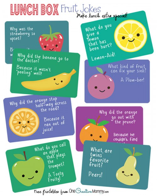 Lunch Box Jokes Cute Fruit Jokes! Onecreativemommy Com