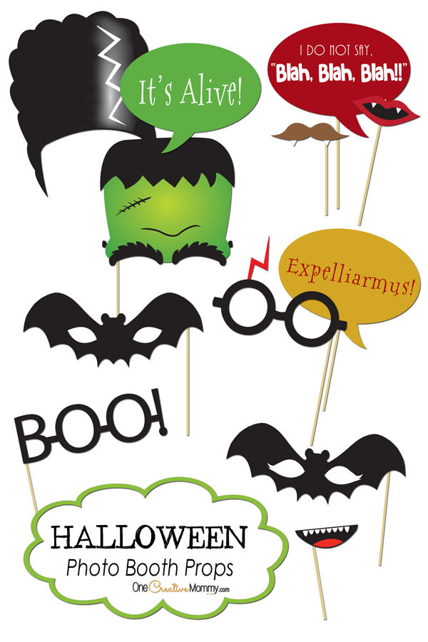 Halloween Photo Booth Props Printables | One Creative Mommy