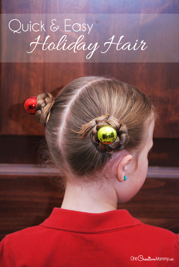 Simple Holiday Hair for Girls  onecreativemommycom