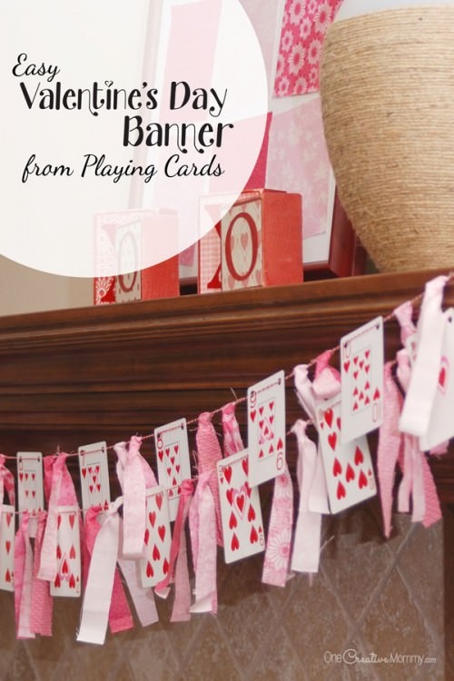 Playing Card Valentines Day Banner Onecreativemommy Com