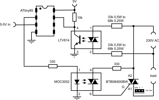 Voltage controlled dimmer with an ATtiny85