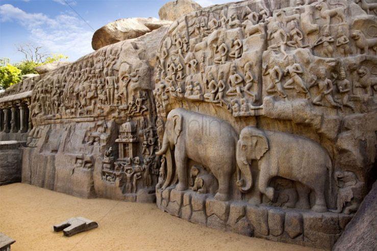 Arjunar Penance with 1 Day Chennai to Mahabalipuram & Kanchipuram Trip by Car
