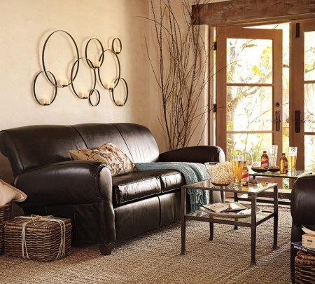 Living-Room-Designs-For-Small-Spaces-With-Dark-Brown-Couch-And-Unique-Wall-Light-Fixtures