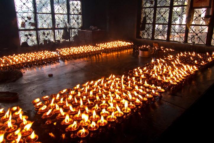 Lamps at the Dalai Lama Temple