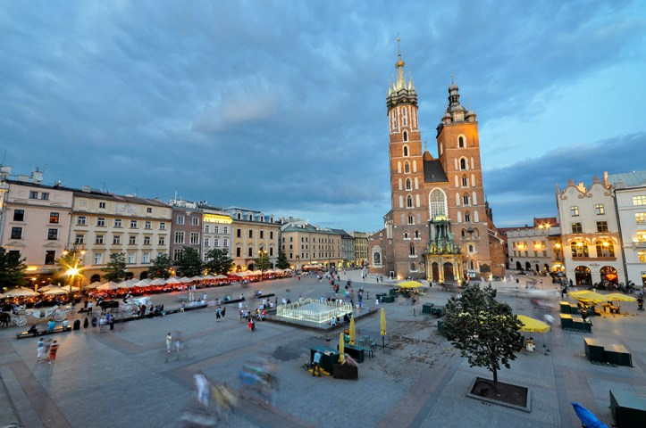 St. Mary's Basilica and Main Square at dusk