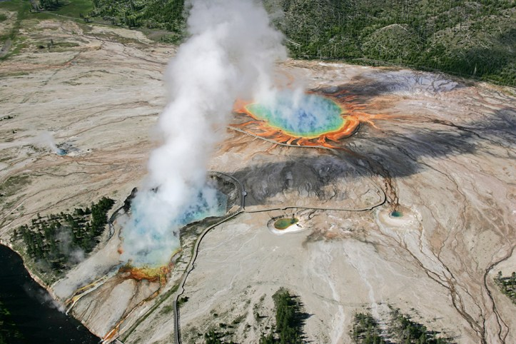Excelsior Geyser and Grand Prismatic Spring, Yellowstone National Park
