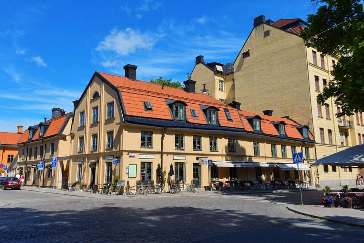 Downtown street corner in Uppsala