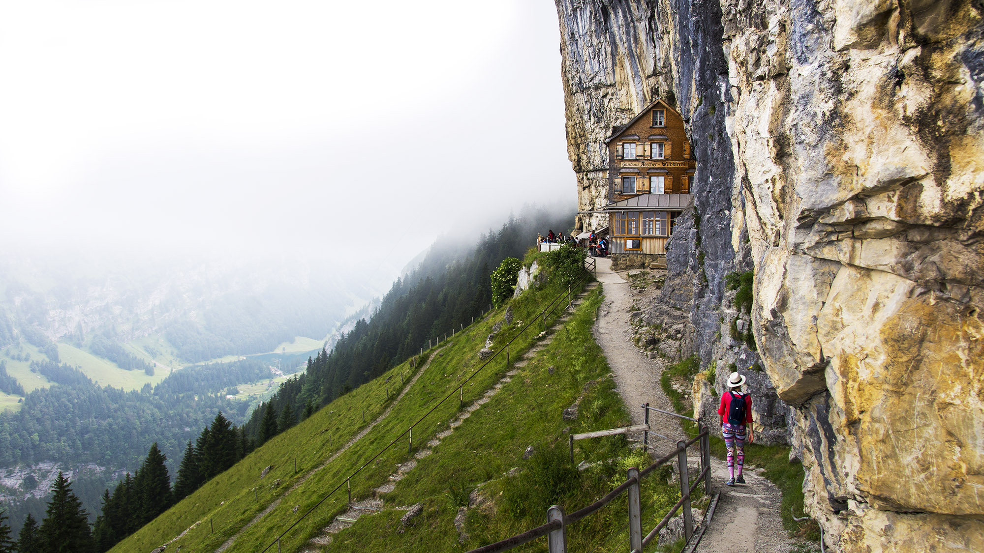 Hiking to the cliff restaurant  scher and Ebenalp