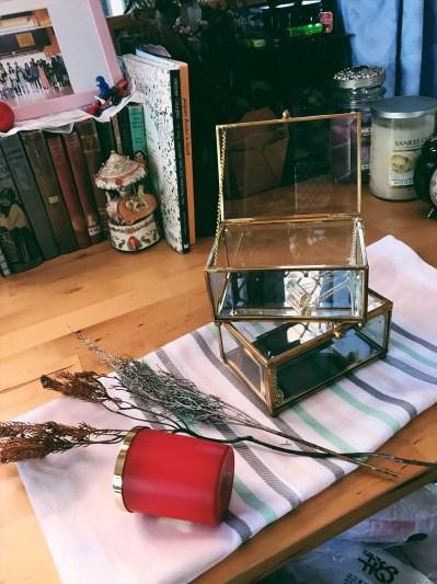 Brass rectangular glass case (S$35)