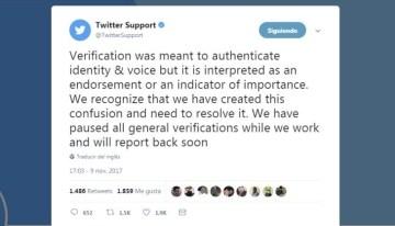 Twitter suspende temporalmente la verificación de cuentas