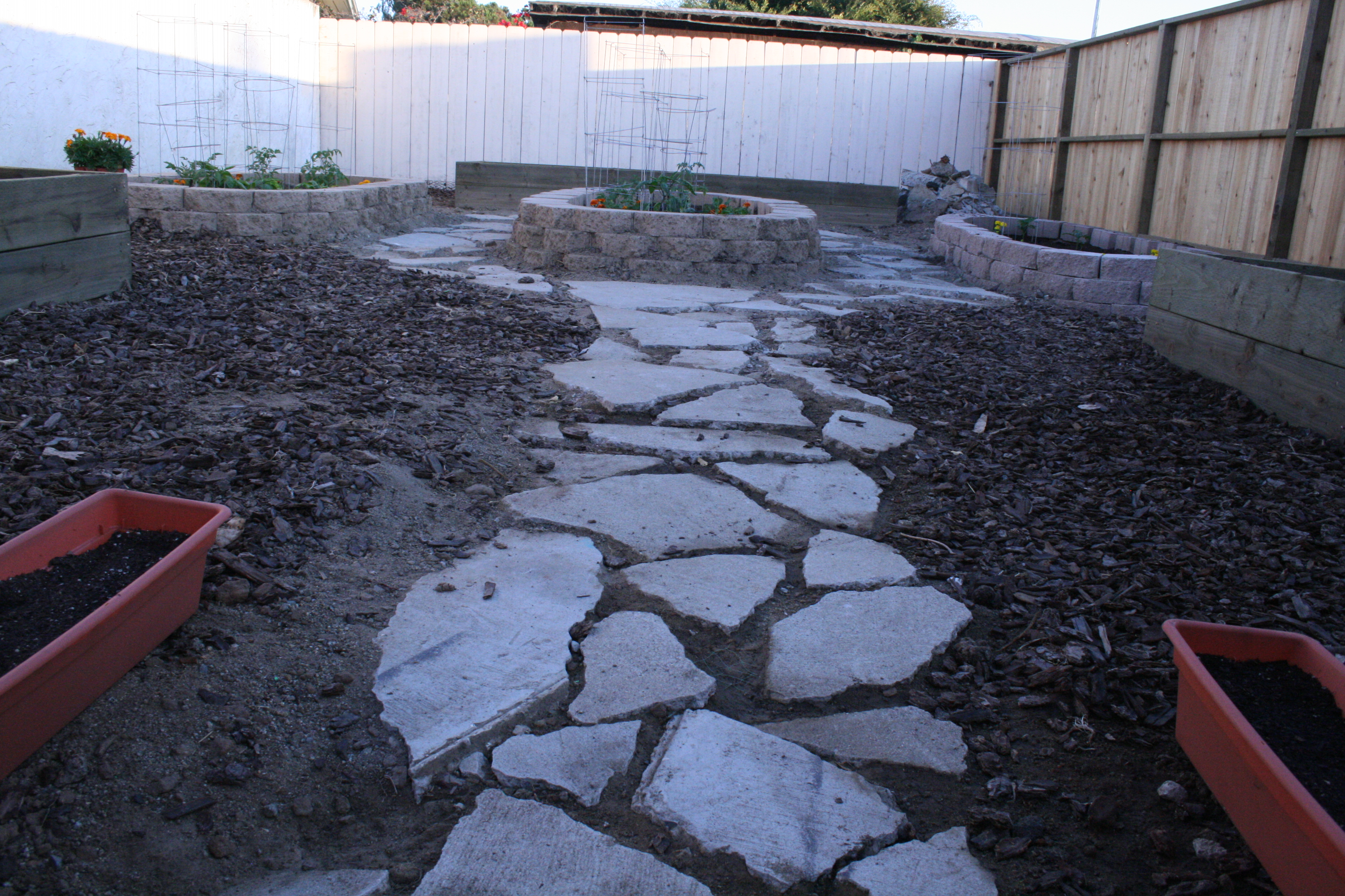 After tearing down an old decripit shed, and reusing some broken concrete to make a path around gardening beds, this piece of our backyard will soon feed us. Garden by Kerri. Photo by Christopher.