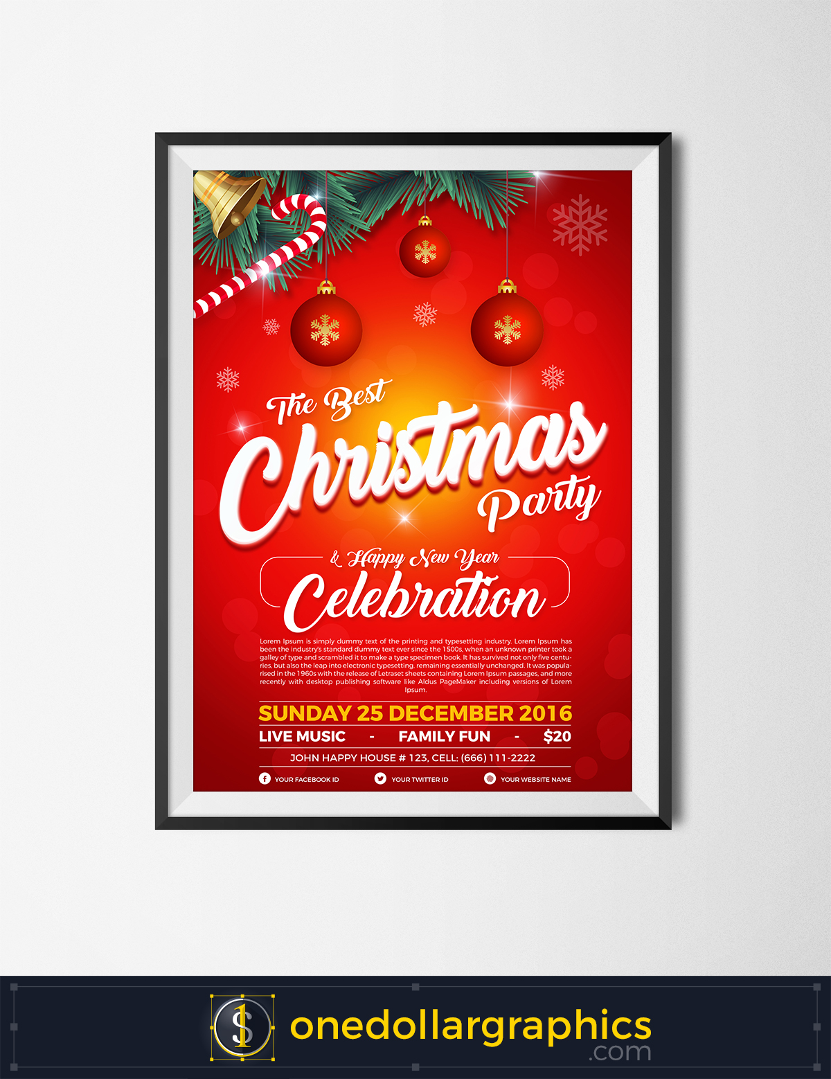 Free Christmas & Happy New Year Party Flyer Design Template In Ai & Psd  Format