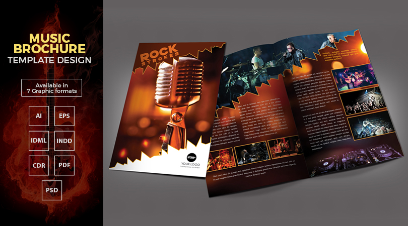 A4 Music Bi Fold Brochure Template Design In Ai EPS CDR