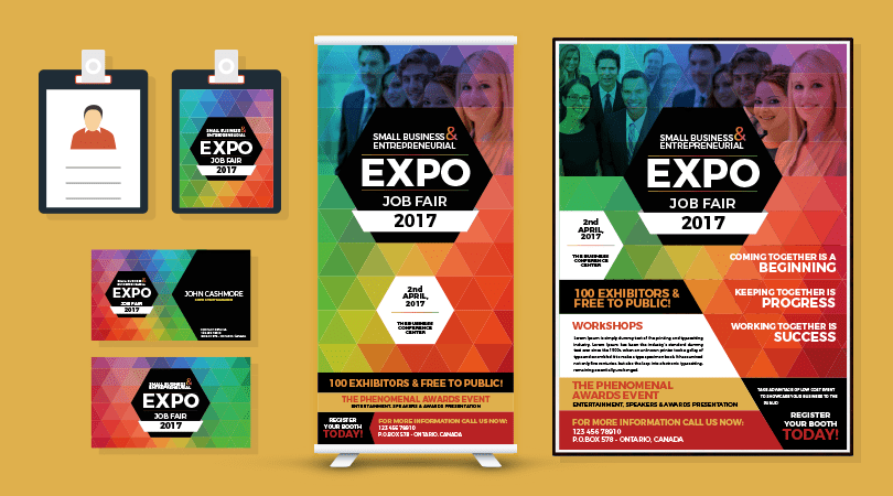 Professional Expo Job Fair Flyer Business Card I D Card