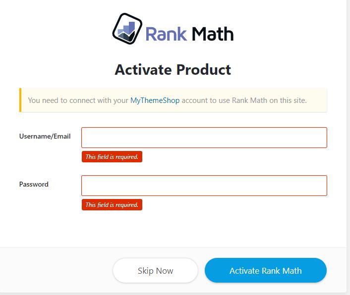 mythemeshop login in Rank Math seo