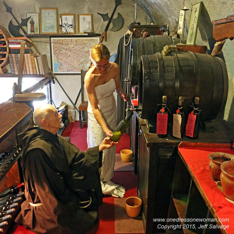 Pouring a bottle of wine - Blejski Grad, Lake Bled