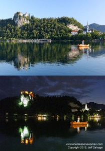 Day and night shots at Blejski Grad, Lake Bled