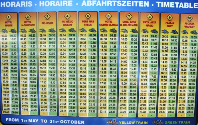 mini train timetable 16 things to do in Alcudia