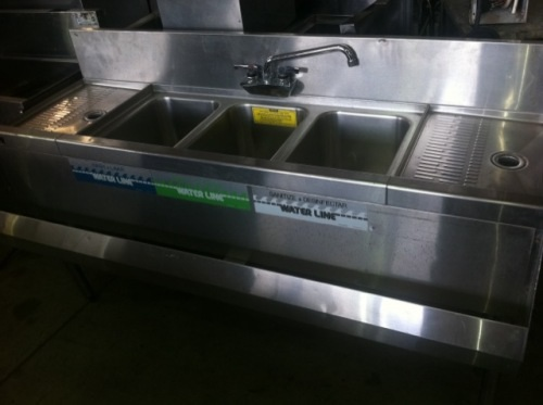 3 compartment sink with drainboards